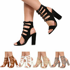 NEW WOMENS LADIES HIGH BLOCK HEEL CUT OUT LACE UP STRAPPY SANDAL SHOES SIZE 3-8