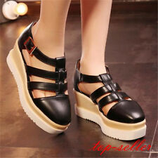Fashion Women Wedge Platform Hollow Out Ankle Strap Sandals High Heels Shoe Size