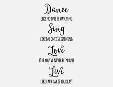 Bright Star Kids Wall Art Writing Quotes - Home Decor - Dance, Sing, Love, Live