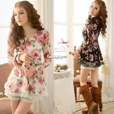 Women ES9P New Long Sleeve Rose Flower Shirts Blouses Prints Lace Casual Tops