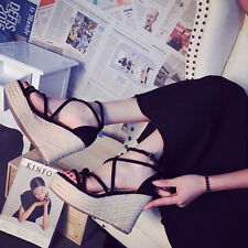 New Flange Women Sexy Cover heel Gladiator Shiny Ankle Strap Wedge Sandals K