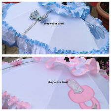 "PRAM/BUGGY ""CLIP OFF"" PARASOL, ROMANY BABY BLING! WITH SPARKLY BOWS & ANY COLOUR"