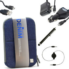 for 7 7.1 7.7 8 Tablets DENIM Jeans Pouch Sleeve Cover Kit Micro USB Accessories