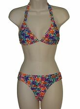 New Raisins L sexy multi floral slide bra halter strappy 2pc bikini set swimsuit