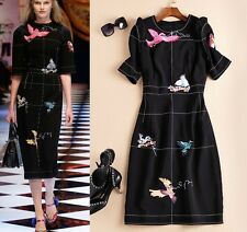 Free shipping Runway style birds Embroidery long Dress S M L XL