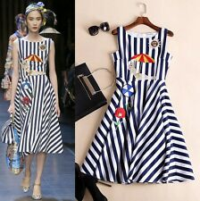 Free shipping runway style foreign trade embroidery striped dress S M L XL