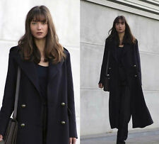 NWT ZARA Woman Navy Blue Extra Long Wool Coat With Metallic Buttons 7938/744 S M
