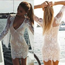 Women Sexy Sheer Lace Crochet Boho Short Dress Evening Party Casual Beach MAD