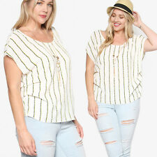 TheMogan Women's PLUS Striped Pleated Side Boat Neck Blouse Draped Nacklace Top
