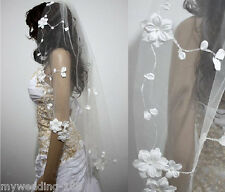 New 1T white or ivory hand-crocheted lace bridal veil fingertip length with comb