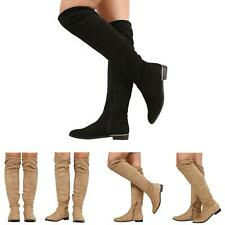NEW WOMENS LADIES OVER THE KNEE HIGH BOOTS BLOCK LOW HEEL STRETCH ZIP UP SHOES