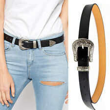 Black Leather Skinny Western Cowgirl Belt Waistband for Women Floral Pin Buckle