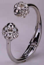 Flower bangle bracelet gold silver plated W crystal bling jewelry FT32