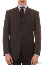CANALI ITALY Diplomat Brown Striped Wool Suit EU Classic Fit