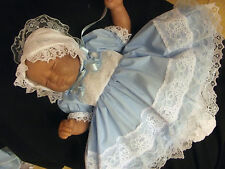 "DREAM NEWBORN 5-8 LB  BABY GIRL BLUE  WHITE  DRESS BONNET OR 17-19 "" REBORN DOLL"