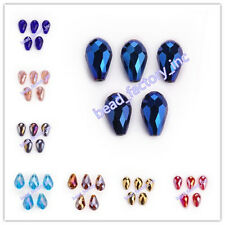 10x15mm Glass Crystal Jewelry Teardrop Spacer Loose Beads Findings 52 Colors