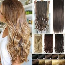 US Lady 1 Piece Full Head Clip In Hair Extension Extensions Thick For Human f99