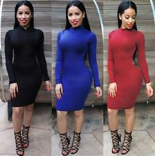 Sexy Womens Long Sleeve Backless Bandage Bodycon Evening Club Party Mini Dress