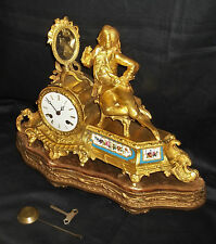 Quality French Ormolu 8 Day Mantle Clock With Fine Porcelain Panels