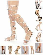 New Womens Strappy Knee High Lace Up Gladiator Open Toe Flat Zipper Sandals Shoe