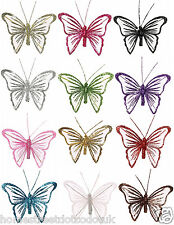 Small 9cm Glitter Nylon Clip On Butterflies New Mesh Gift Butterfly Decorations
