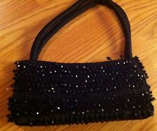 Lancôme Elegant Black Beaded Satin Evening Handbag Purse