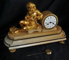 Nice French Bronze & White Marble Mantle Clock With Male Figure
