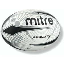 Mitre Maori Match Rugby Ball High Grip Training & Practice Ball White Size 5-4