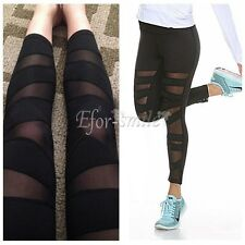 Women Mesh Pocket Workout Sports Gym Yoga Elastic Leggings Pants Fitness Trouser