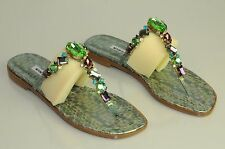 $1395 New MANOLO BLAHNIK Flats Green Snake Jeweled Python SANDALS SHOES 37