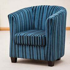 Striped Tub Chair Armchair Seating Sofa Lounge Office Furniture Seat Fabric New