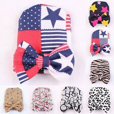Cute Newborn Baby Infant Girl Toddler Comfy Bowknot Hospital Cap Beanie Hat 0-6M