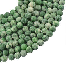 "Frost Green Jade Gemstone Stone Round Spacer Loose Beads 15"" Jewelry Findings"