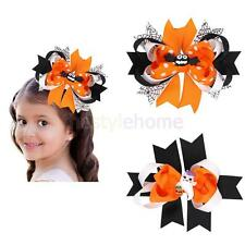 Girls Bat Ghost Halloween Ribbon Bow Hair Clips Barrette Party Cosplay Costume