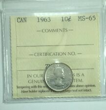 1963 Canadian Ten Cent Coin ICCS Graded MS-65