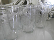 40's 50's VINTAGE SET SIX ETCHED GLASS TUMBLERS COCKTAIL GLASSES