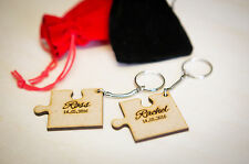 Personalised Wooden Jigsaw Keychain 2 Piece Anniversary Wedding Gift Keyring