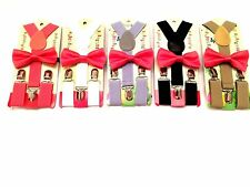 Coral Suspender and Bow Tie Matching  Baby Toddler Kids Boys Girls Child USA