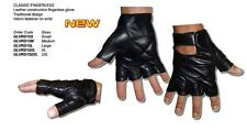 Black Leather Fingerless Classic Motorcycle Gloves Biker Cruiser Trike Quad Bike