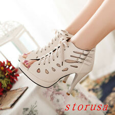 Sexy Women Lady Stiletto Heel Peep Toe Shoes Sandals Lace Up Roman Shoes Size