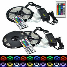5M 3528 5050 RGB SMD Flexible 300 LEDS Strip Light 24/44 IR Remote Power Adapter