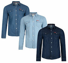Lee Cooper Slim Fit Denim Shirt New Fashion Light Dark Wash Blue Jean Shirts