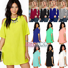 UK Womens Plus Size Chiffon Baggy Shirts Tops Blouse Dress Lace Off Shoulder NEW