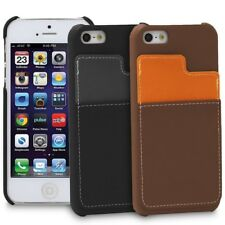 Leather Card Holder Pouch Hard Cover Wallet Hybrid Case For iPhone SE 5S 5