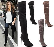 WOMENS OVER THE KNEE THIGH HIGH STILETTO HEEL LADIES STRETCH CALF BOOTS SIZE 3-8