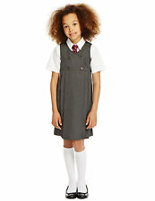NEW M&S GIRLS GREY DOUBLE BREASTED SCHOOL PINAFORE DRESS SIZES 2 - 12 YEARS