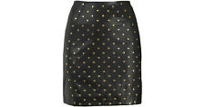 TOPSHOP PREMIUM BLACK GOLD STUD FAUX LEATHER SKIRT Size Uk8 & 14 BNWOT