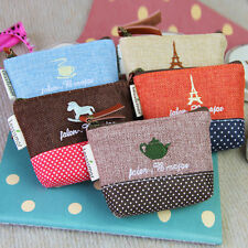 Womens Girl Retro Zipper Coin Bag Purse Wallet Card Case Handbag Gift Iron Tower
