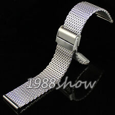 New 18 20 22 24 mm Silver Solid Stainless Steel Bracelet Strap Watch Mesh Band
