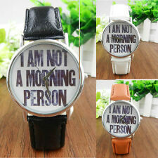 Women's Men's Casual Letters Wristwatch Leather Band Analog Quartz Dial Watches